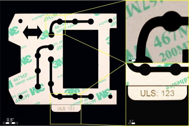 完成した3M 467MPのサンプル(左)/切断エッジ(右上)とレーザー彫刻(右下)